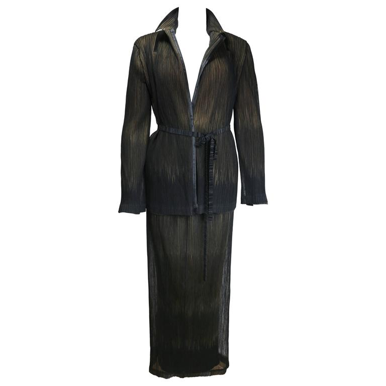 Issey Miyake Two Layers Mesh/Pleated Jacket and Skirt Set