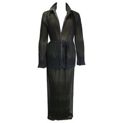 90s Issey Miyake Double Layers Mesh/Pleated Jacket and Skirt Set