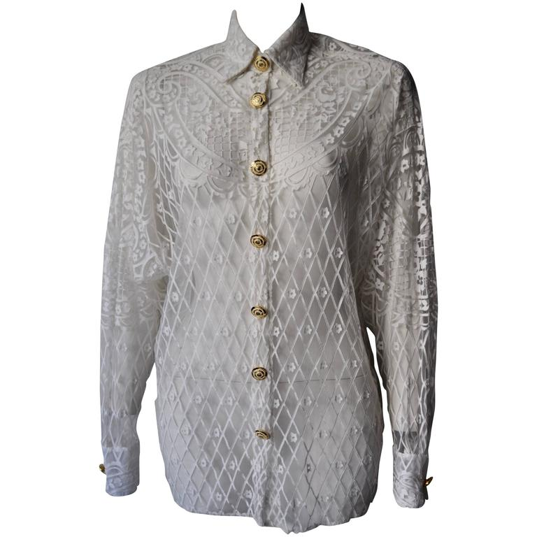 Eclectic Gianni Versace Couture Laser-Cut Sheer White Silk Shirt