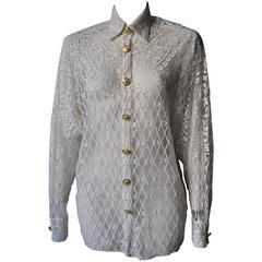 Eclectic Gianni Versace Couture Laser-Cut Sheer White Silk Shirt
