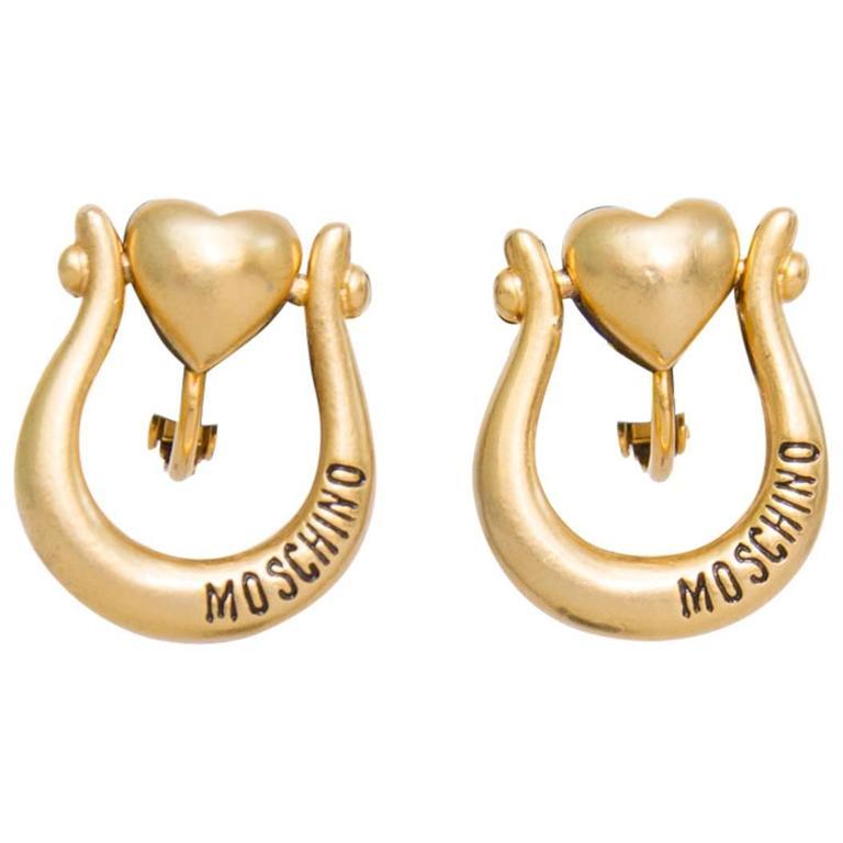 1990s Moschino Logo Earrings  1