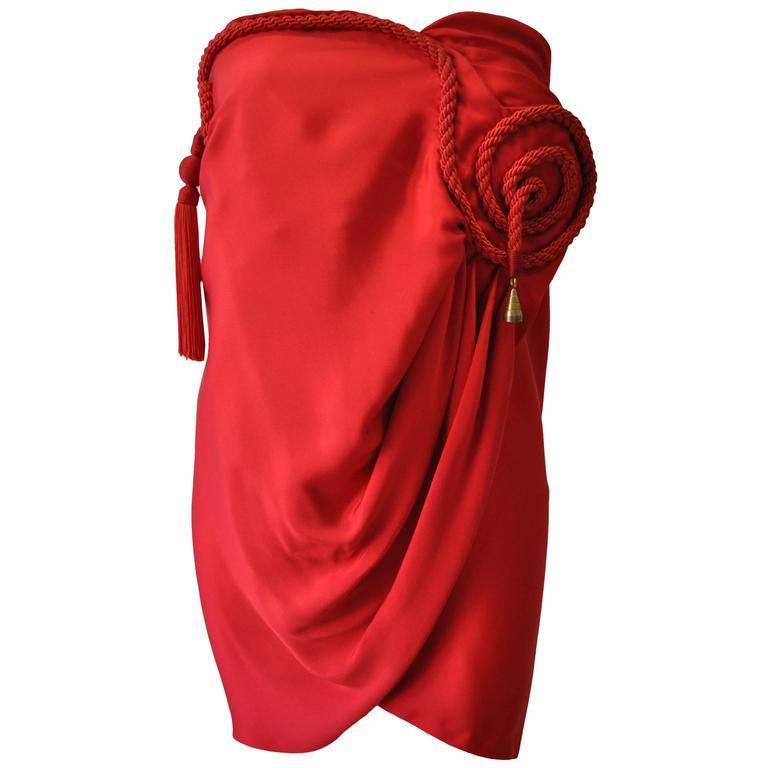 Daring Gianni Versace Couture Silk Tassel Draped Silk Mini Dress