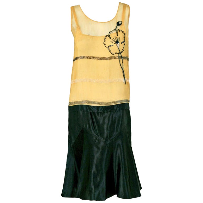 Vintage 1920's Beaded Floral Yellow Chiffon and Black Satin Flapper Deco Dress