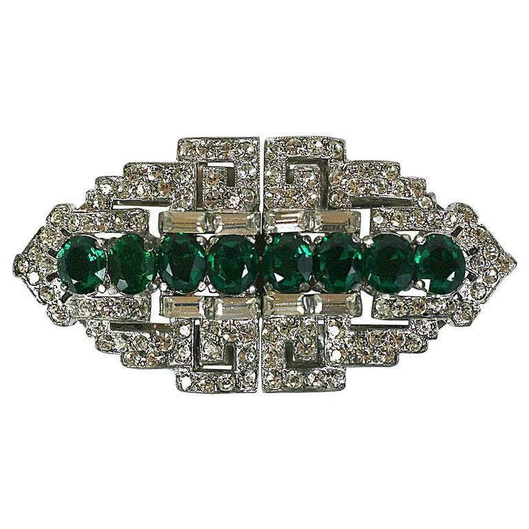 Trifari Art Deco Faux Emerald Clip Mate Brooch For Sale
