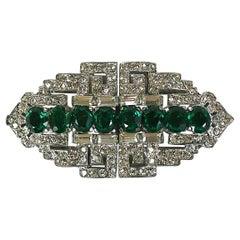 Trifari Art Deco Faux Emerald Clip Mate Brooch