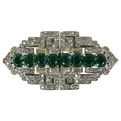 Trifari Art Deco Faux Emerald Clip Mate Brooch