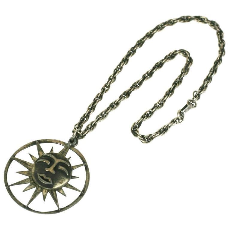 Rebajes Sun Moon Pendant Necklace For Sale