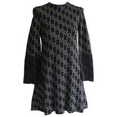 1960s Rudi Gernreich Op Art Wool Dress