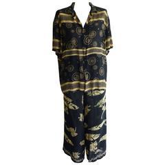 1980s Mixed Pattern Matsuda Spun Rayon Pant Suit