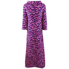 Vintage 1970's Givenchy Haute  Couture Graphic Pink / navy Long Shift Dress