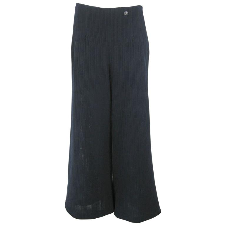 Chanel Navy Blue Wide Leg Knit Trousers Pants