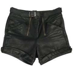 Vintage Darkest Olive Green Distressed Leather Shorts