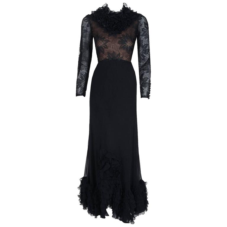 1975 Valentino Couture Black Silk-Chiffon & Sheer Illusion-Lace Ruffle Gown For Sale