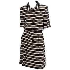 Yves Saint Laurent Haute Couture Black & White Silk Dress