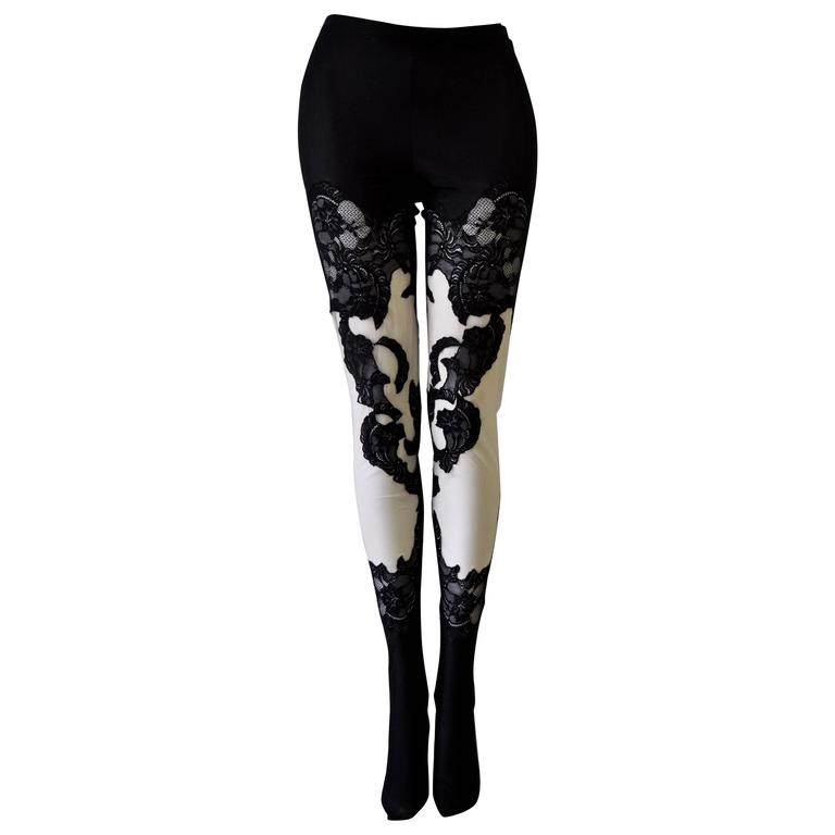 One of a Kind Atelier Versace Punk Sheer Silk Lace Leggings For Sale