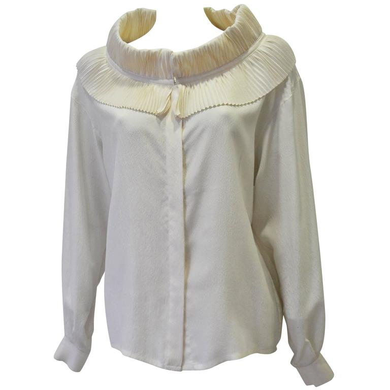 Regal Claude Montana Ruffle Collar Silk Crepe Blouse