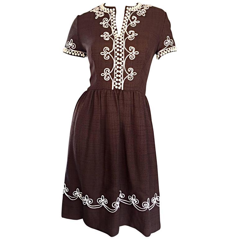1960s Oscar de la Renta Brown + White Beaded Linen Embroidered Vintage 60s Dress