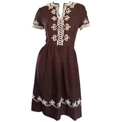 1960s Oscar de la Renta Brown + White Beaded Linen Embroidered Vintage 60s Dress