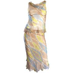 Alberta Ferretti 90s ' Ikat ' Print Silk Chiffon Semi Sheer Vintage Dress Set