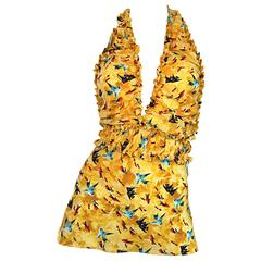 Vintage Fendi by Karl Lagerfeld ' Fish ' Novelty Print Silk Halter Top