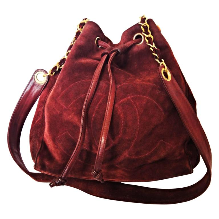 Vintage CHANEL wine red suede leather hobo bucket shoulder bag with drawstrings 1