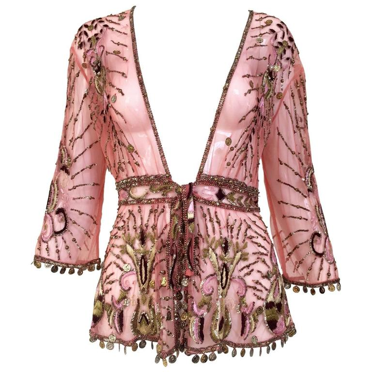 Roberto Cavalli salmon pink silk mesh embroidered beaded cardigan For Sale