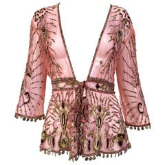 Roberto Cavalli salmon pink silk mesh embroidered beaded cardigan