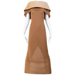90s Gianfranco Ferre tan knit dress with silk collar