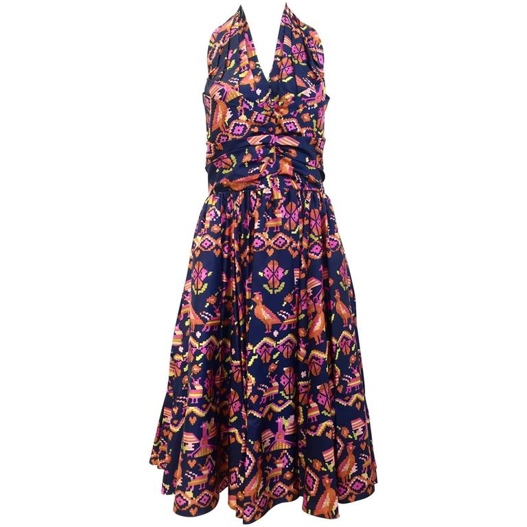 Vintage CHRISTIAN DIOR Ikat Print Silk Halter Cocktail Dress