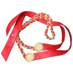 Vintage CHANEL lipstick red chain leather belt with golden CC charms.
