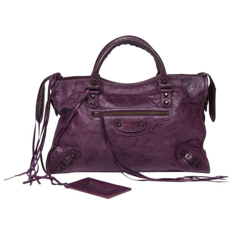 City Large Purple Distressed Leather at 1stdibs