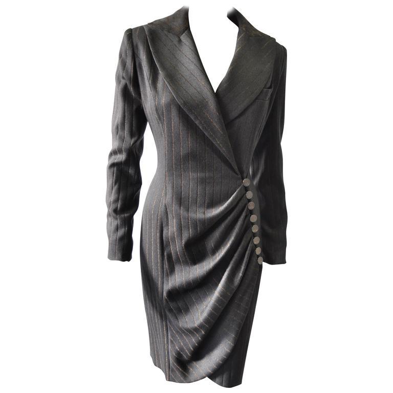 Influential Jean-Louis Scherrer Metallic Pinstripe Power Wool Coatdress