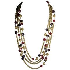 LONG RARE Vintage 70s Signed Chanel Cranberry  Gripoix Glass Necklace