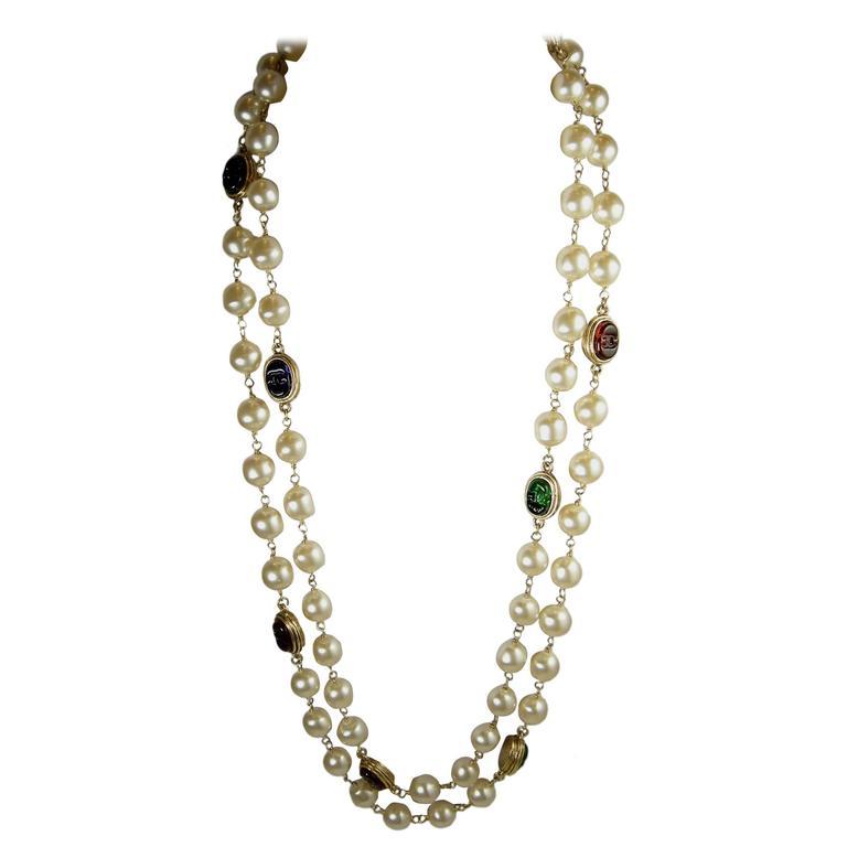 LONG Vintage 80s Signed Chanel Gripoix Glass & Faux Pearl Necklace Sautoir 1