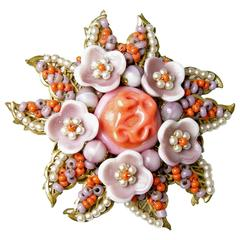 Vintage 1940s Signed Miriam Haskell Coral Glass & Faux Pearl Floral Pin