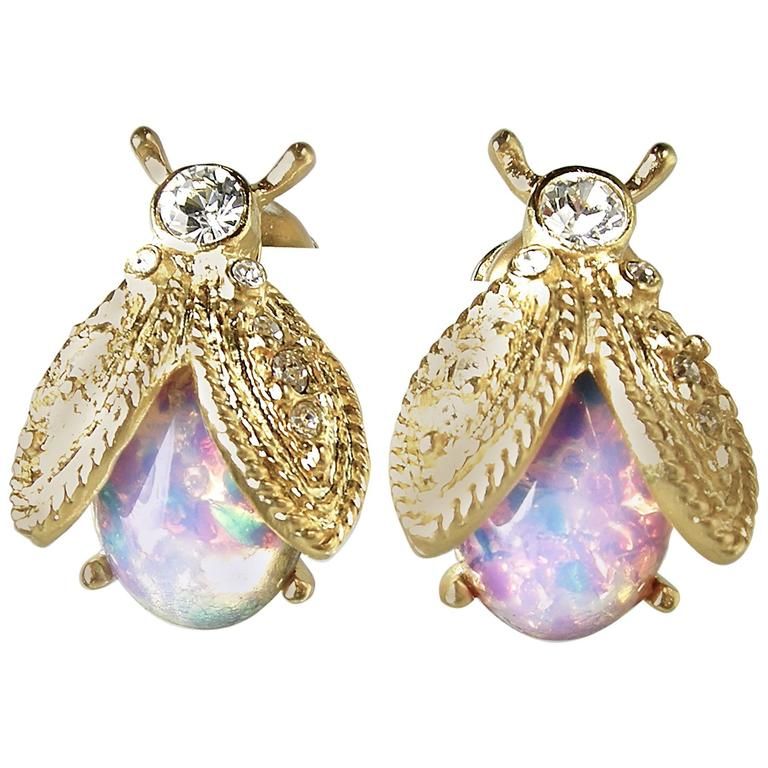signed kenneth kjl opal colorful bee earrings at