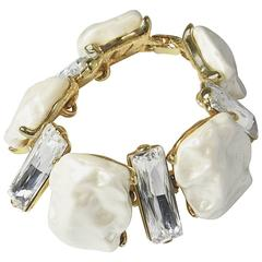 Kenneth Jay Lane Faux Pearl Discs Bracelet