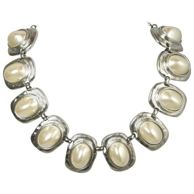 Signed Kenneth Jay Lane Faux Pearl & Silver-Tone Necklace For Sale