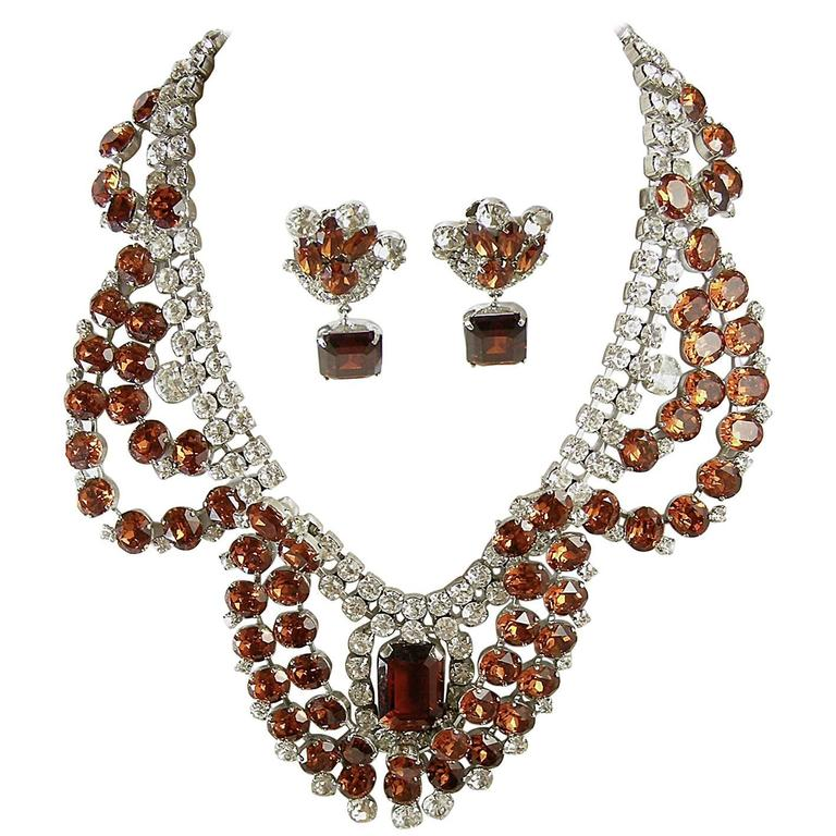 One-of-a-Kind Signed Robert Sorrell Topaz & Clear Rhinestone Necklace & Earrings For Sale