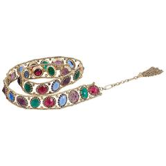 1960s unsigned multicoloured jewelled belt by Schreiner of New York