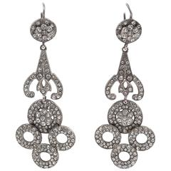 Dramatic long silver and paste Art Deco earrings