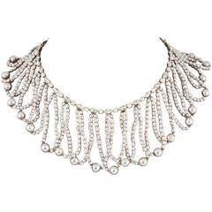 Miriam Haskell Baroque Pearl and paste 'looped' necklace 1950s