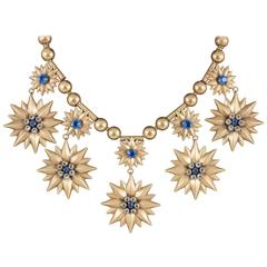 Showstopping Joseff of Hollywood Russian gilt & paste multi drop necklace, 1950s