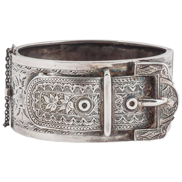 Lovely English Victorian silver buckle cuff bracelet 1