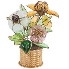 Rare Maison Gripoix poured glass 'flower vase' objet, 1960s