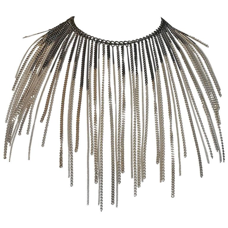Chanel Ruthenium and Gold Dripping Chain Bib Statement Necklace For Sale