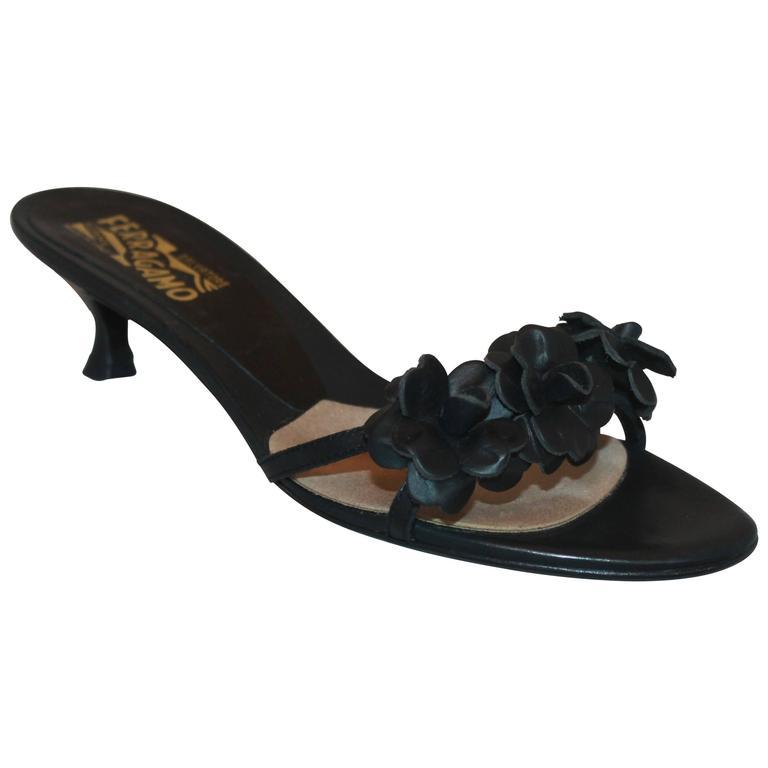 Salvatore Ferragamo Black Leather Sandal w/ 3 Leather Flowers & Kitten Heel - 7