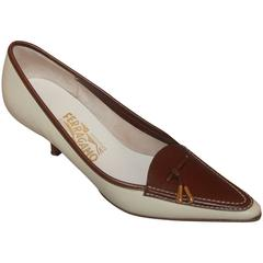 Salvatore Ferragamo Creme Loafer-Style Pumps w/ Brown Trim & Gold Tassel - 7AA