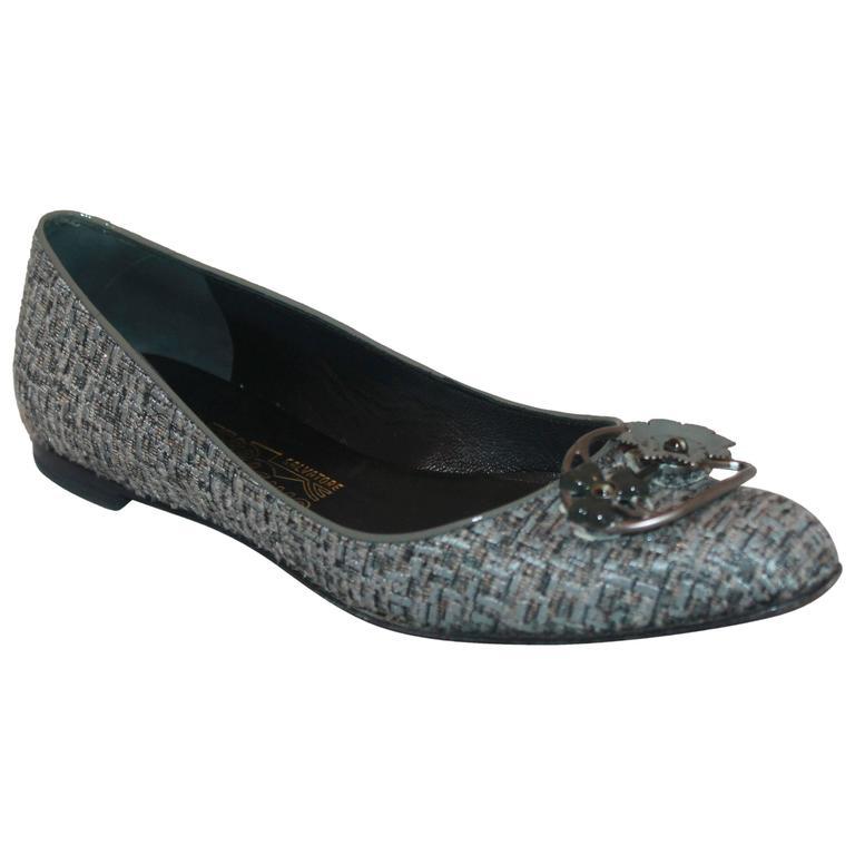 Salvatore Ferragamo Grey Tweed w/ metal Flower Toe Buckle - 7AA For Sale