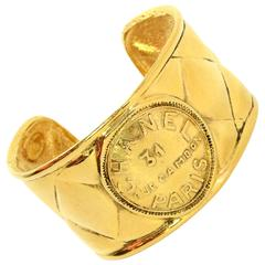 Chanel Vintage 70's Quilted Gold Cuff Bracelet